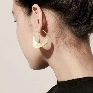 Hammered Gold Open Hoop Minimalist Earrings